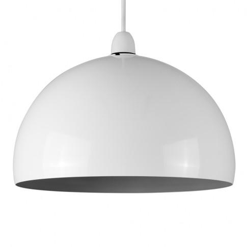 Curva Pendant Shade In White With Grey Interior