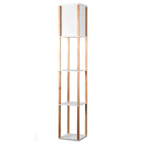 Wooden Shelving Unit Floor Lamp With Fabric Shade In...