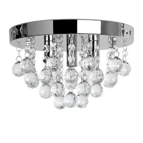 Mitre Ceiling Light In Chrome With Clear Ball Droplets