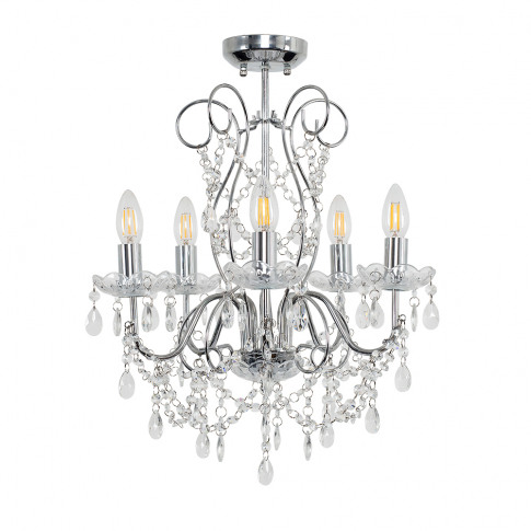 Viscount 5 Way K5 Crystal Ceiling Light In Clear Acr...
