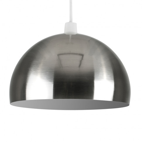 Curva Pendant Shade In Brushed Chrome With White Int...