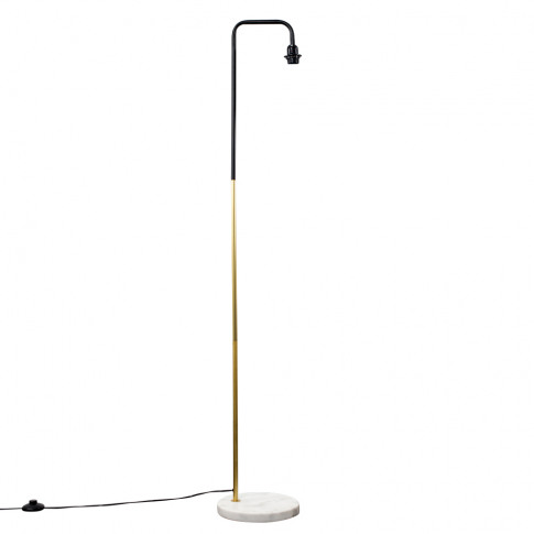Talisman Black And Gold Floor Lamp, White Marble