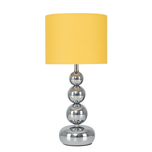 Marissa Chrome Touch Table Lamp With Mustard Shade