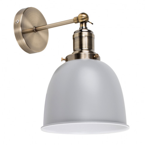 Wilhelm Antique Brass Wall Light With Grey Shade