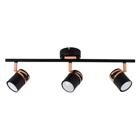 Garcia 3 Way Ceiling Light In Black And Copper