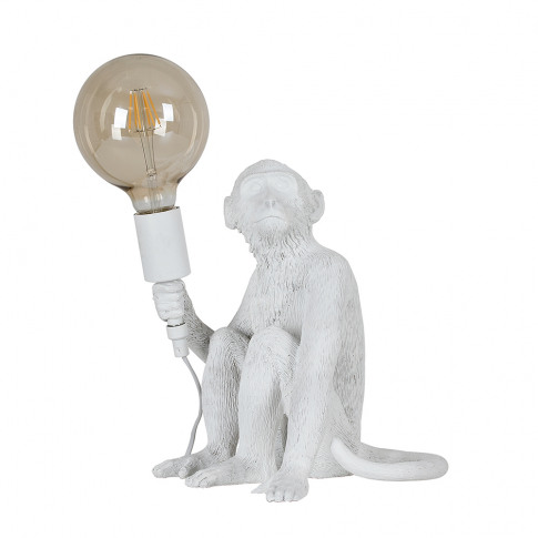 George Monkey Table Lamp In White