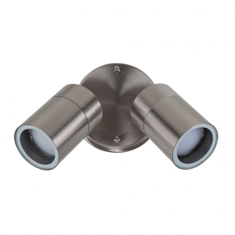 Barrow Twin Ip44 Adjustable Wall Light In Brushed Ch...