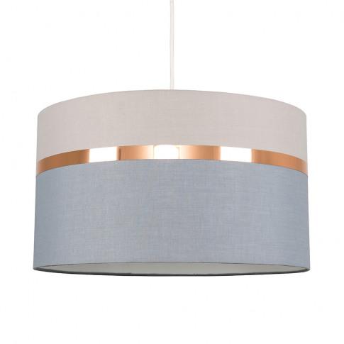Lorenzo Grey Pendant Shade With Copper Trim