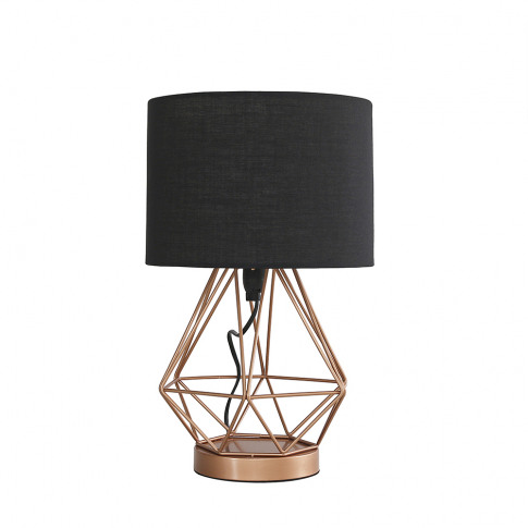 Melrose Copper Touch Table Lamp With Black Shade