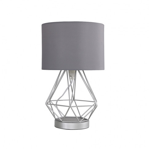 Melrose Silver Touch Table Lamp With Grey Shade