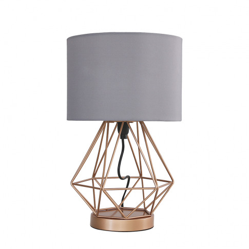 Melrose Copper Touch Table Lamp With Grey Shade