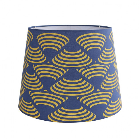 Large Patterned Aspen Shade In Mustard And French Blue
