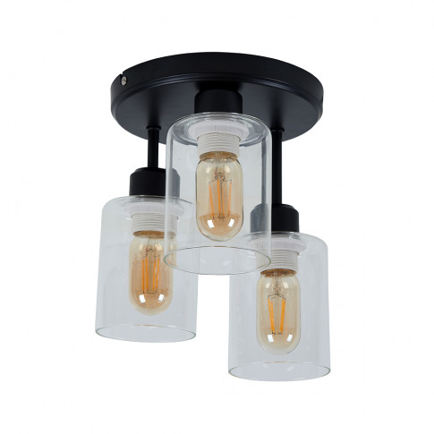 Sisan 3 Way Black Ceiling Light In Clear Shades