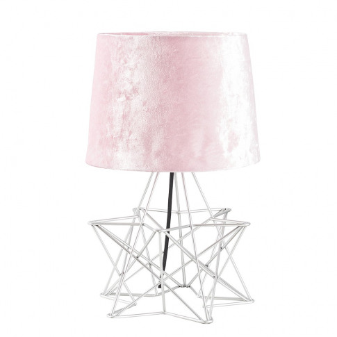 Sadira Table Lamp In Silver With Pink Velvet Shade