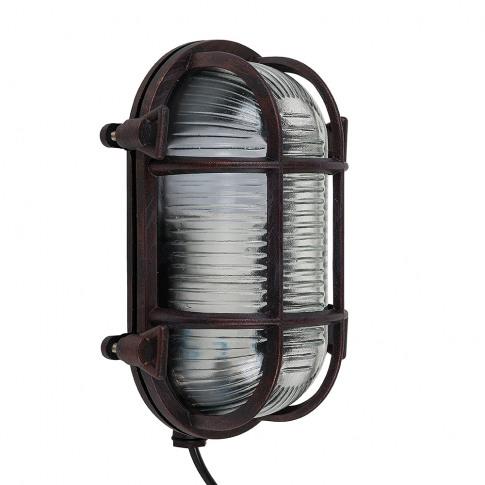 Bow Ip64 Oval Bulkhead Wall Light In Rust Effect
