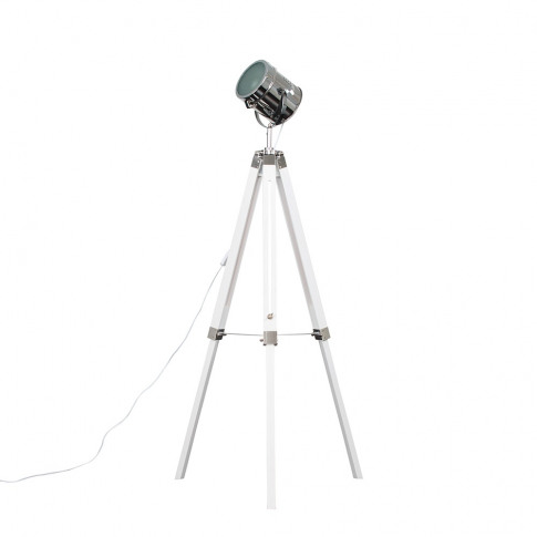 Starboard White And Chrome Tripod Floor Lamp