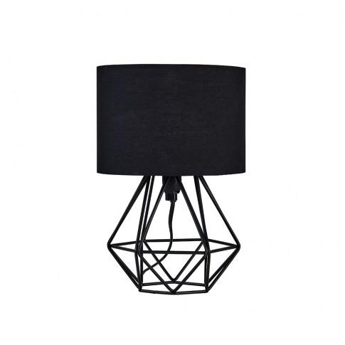 Mini Angus Black Geometric Table Lamp With Black Shade