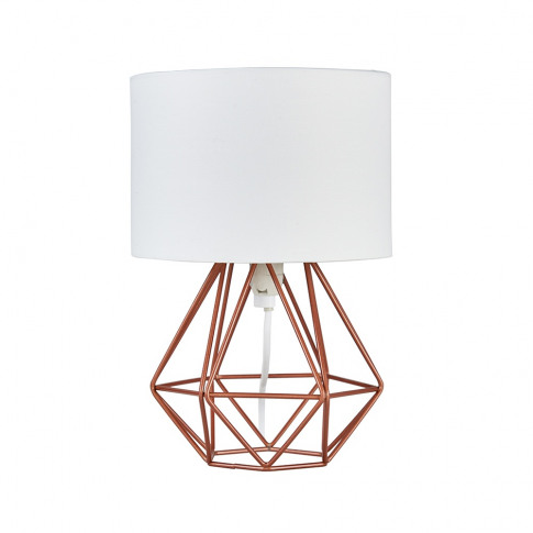 Mini Angus Copper Geometric Table Lamp With White Shade