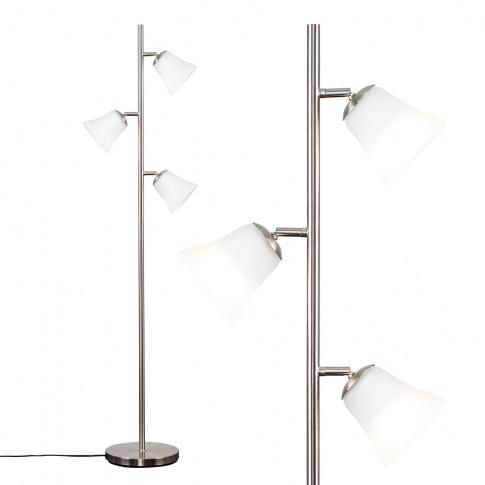 Elliott Brushed Chrome 3-Head Floor Lamp With 3 Olym...