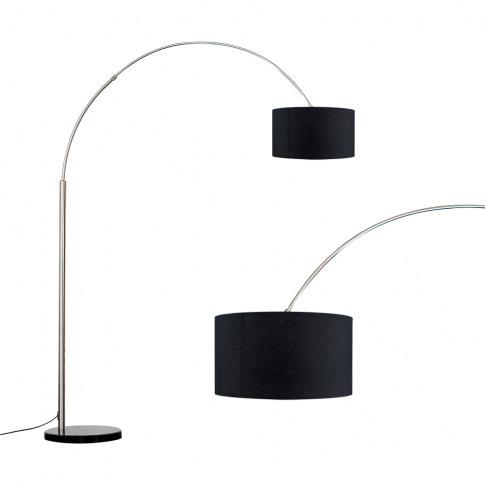 Curva Brushed Chrome Giant Floor Lamp Black Base With Black Shade