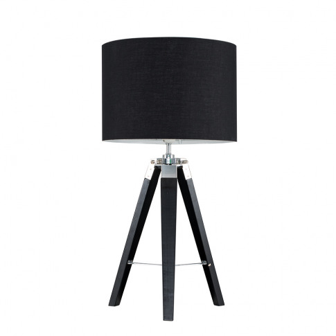 Clipper Black Wood And Chrome Table Lamp With Black ...