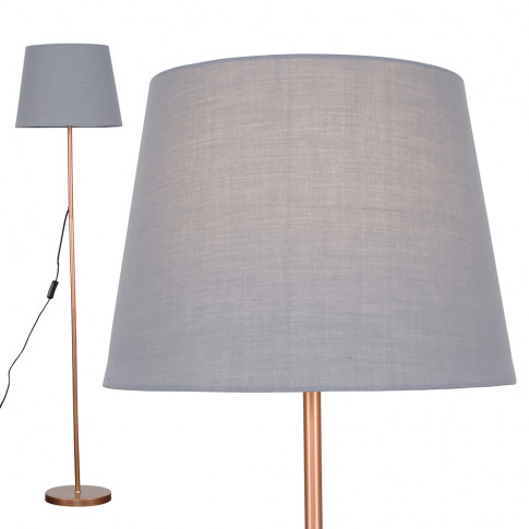 Charlie Copper Floor Lamp With Grey Aspen Shade