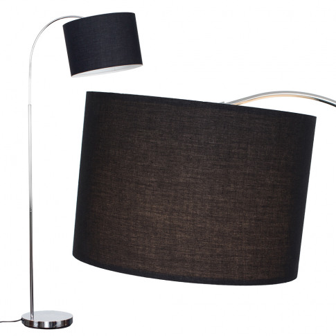 Curva Floor Lamp In Chrome With Large Black Shade