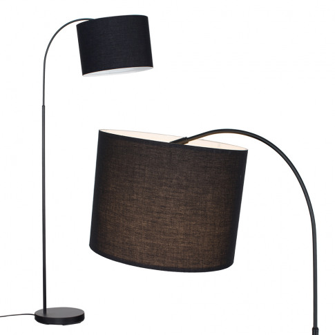 Curva Floor Lamp In Black With Large Black Shade