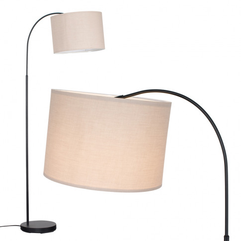 Curva Floor Lamp In Black With Large Beige Shade