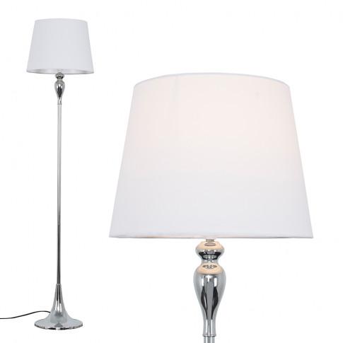 Faulkner Chrome Floor Lamp With White Aspen Shade