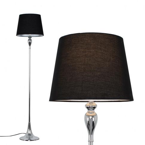 Faulkner Chrome Floor Lamp With Black Aspen Shade