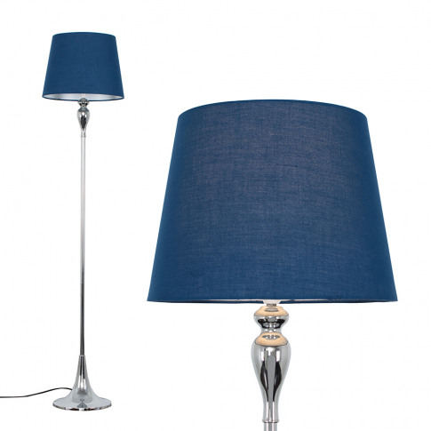 Faulkner Chrome Floor Lamp With Navy Blue Aspen Shade