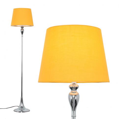 Faulkner Chrome Floor Lamp With Mustard Aspen Shade