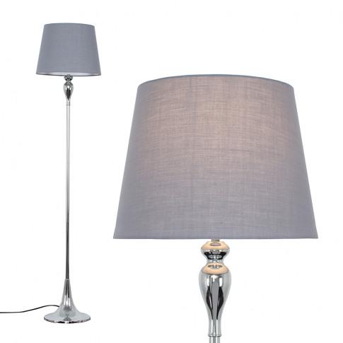 Faulkner Chrome Floor Lamp With Grey Aspen Shade