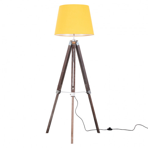 Clipper Light Wood Tripod Floor Lamp With Mustard As...