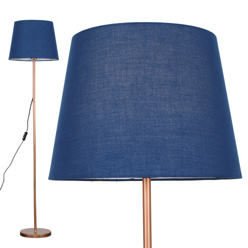 Charlie Copper Floor Lamp With Navy Blue Aspen Shade