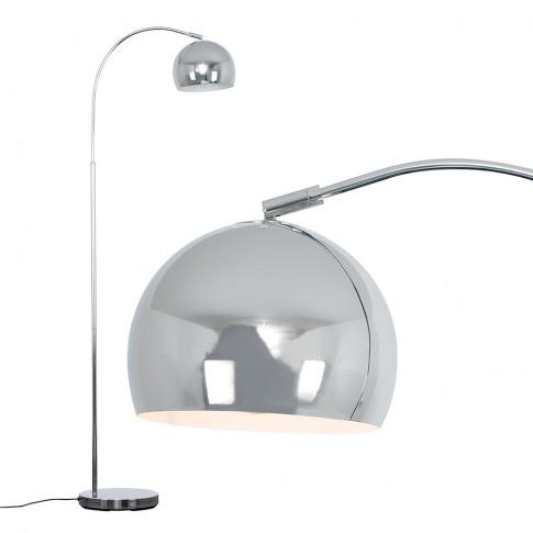 Curva Floor Lamp In Chrome With Chrome Shade