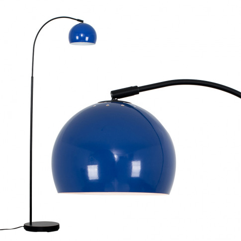 Curva Floor Lamp In Black With Navy Blue Shade