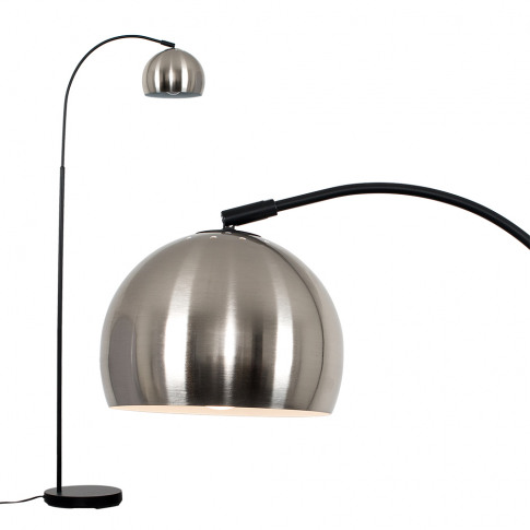 Curva Floor Lamp In Black With Brushed Chrome Shade