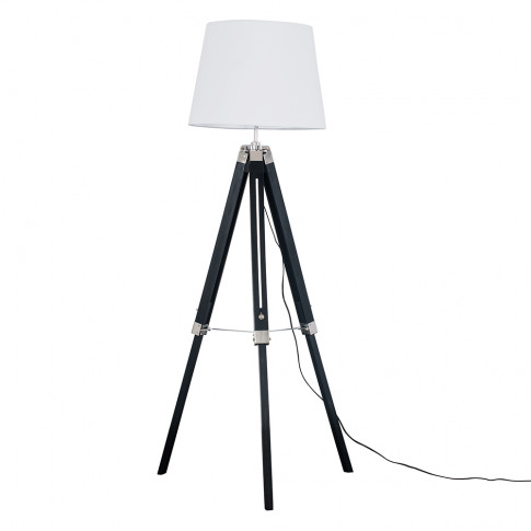Clipper Black And Chrome Tripod Floor Lamp With Whit...