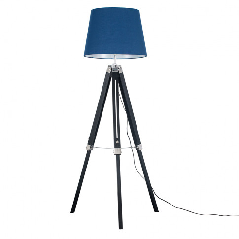 Clipper Black And Chrome Tripod Floor Lamp With Navy...