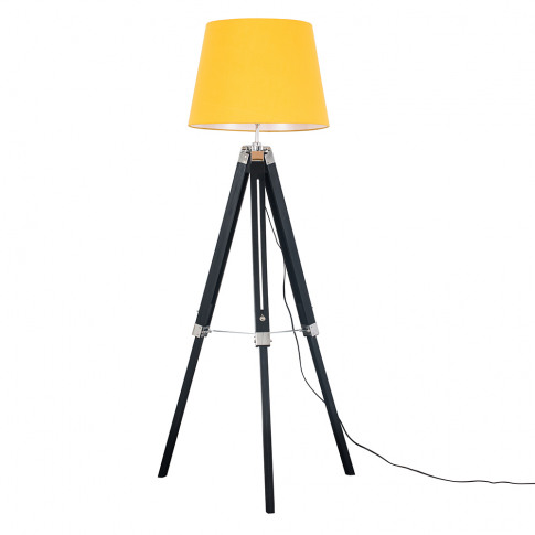 Clipper Black And Chrome Tripod Floor Lamp With Must...