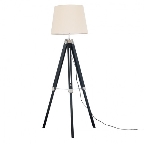 Clipper Black And Chrome Tripod Floor Lamp With Beig...