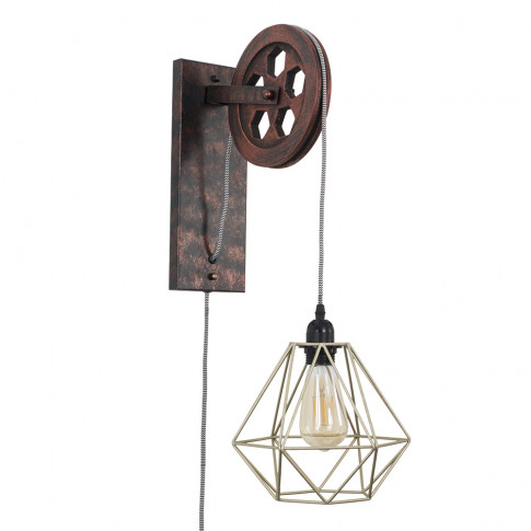 Anderton Pulley Wall Light With Gold Diablo Shade
