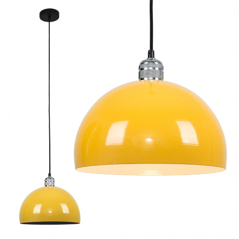 Casco Chrome Pendant With Yellow Curva Shade