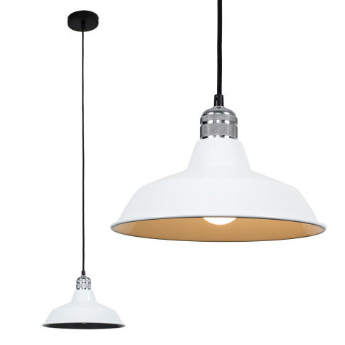Casco Chrome Pendant With White Colby Shade