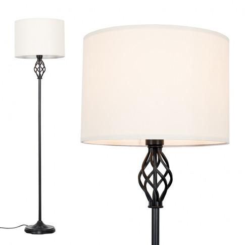 Memphis Black Floor Lamp With Cream Shade