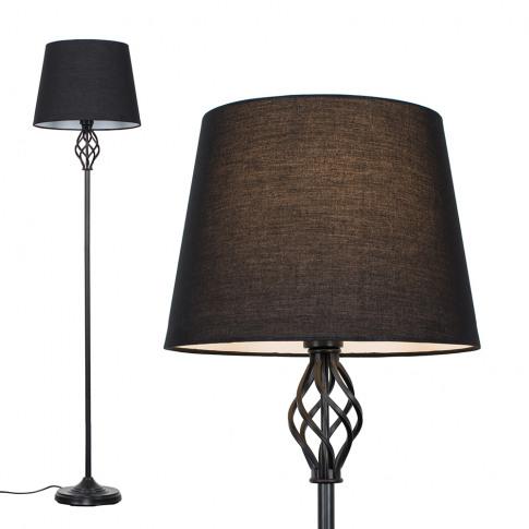 Memphis Black Floor Lamp With Black Aspen Shade