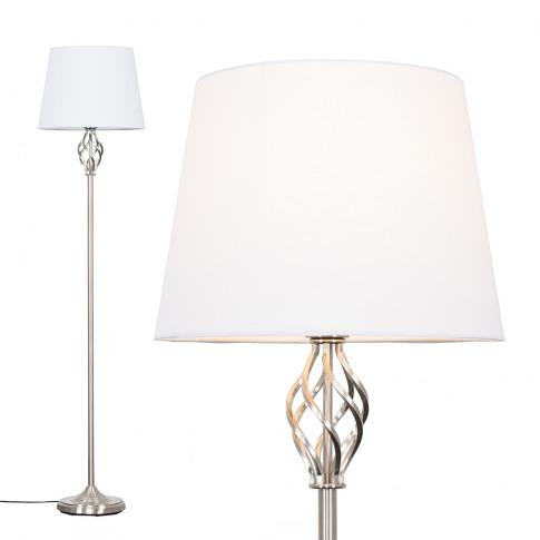 Memphis Brushed Chrome Floor Lamp With White Aspen S...