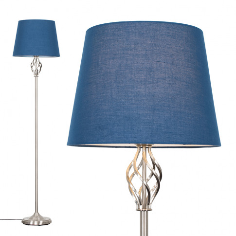 Memphis Brushed Chrome Floor Lamp With Navy Blue Asp...